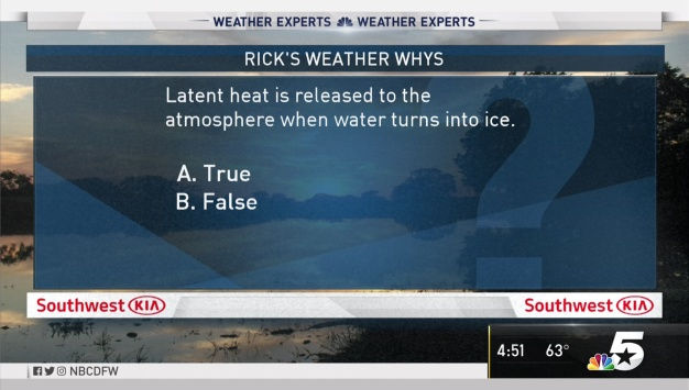 Weather Quiz: Is Latent Heat Released Into Atmosphere When Water Turns to Ice?