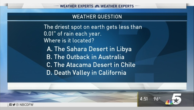 Weather Quiz: Where Is the Driest Spot on Earth?