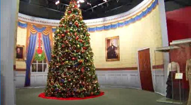 Laura Bush Showcases Bush Library Christmas Display