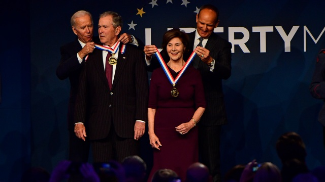 George W. Bush, Laura Bush Honored for Work With Veterans