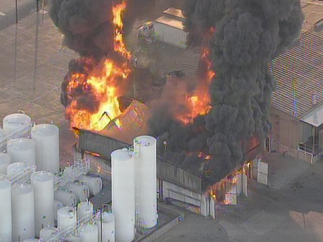 Dramatic Photos: Industrial Facility Catches Fire