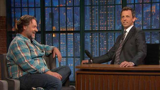 Russell Crowe Endures Seth Meyers' Impression of Him