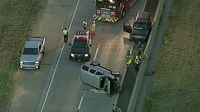 Overturned Vehicle Closes Texas 121 in Bedford