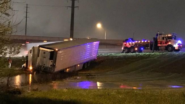 Semi-Truck Stuck in Ditch on I-35E