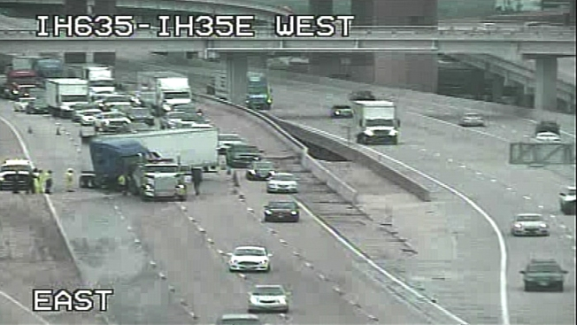 Semi Involved in Crash, Shutting Down I-635: Dallas Police