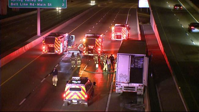 Truck Fire Shuts Down US 75 Near I-635