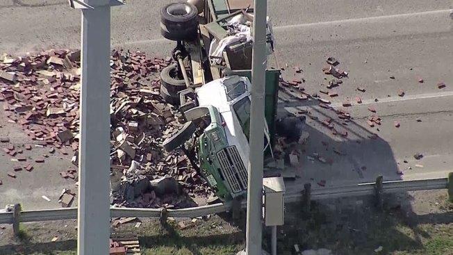 Crash, Bricks Stall Traffic on Northbound Interstate 35E in Carrollton