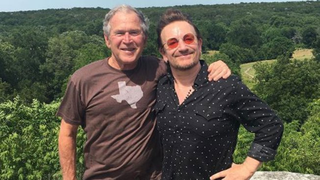 George W Bush And Bono Hang Out At The Crawford Ranch