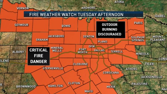 Fire Weather Watch Issued for North Texas Tuesday