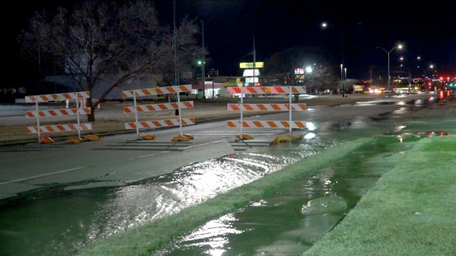 Ice Coats Fort Worth Street After Water Main Break