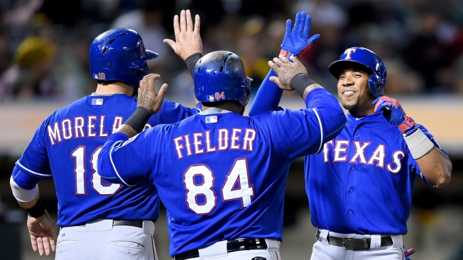 Andrus, Beltre Power Rangers Past Athletics