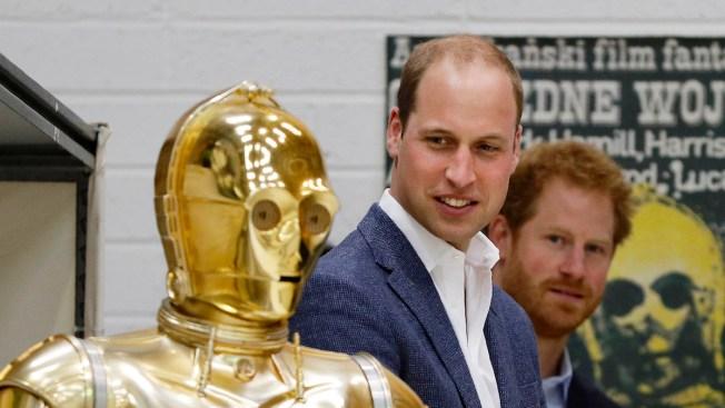 Prince William and Prince Harry Meet Luke Skywalker, Have a Lightsaber Battle, During 'Star Wars' Set Visit
