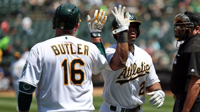 Khris Davis Smacks Another Homer and A's Sweep Rangers 8-1