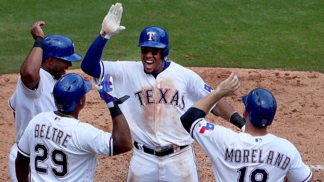 Odor Homers Twice, Gomez Hits Slam as Rangers Rout Mariners