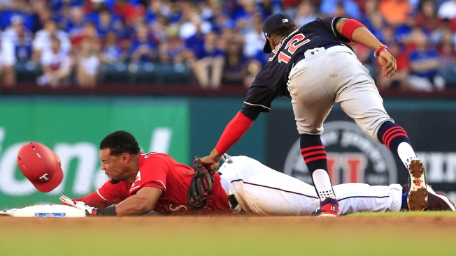 AL Champion Indians Rally in 9th, Win Opener 8-5 Over Rangers