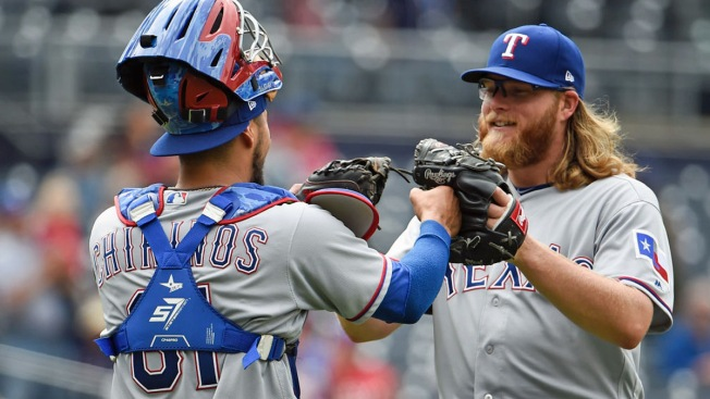 Griffin Dominates Hometown Padres 11-0, Rangers Hit 3 Homers