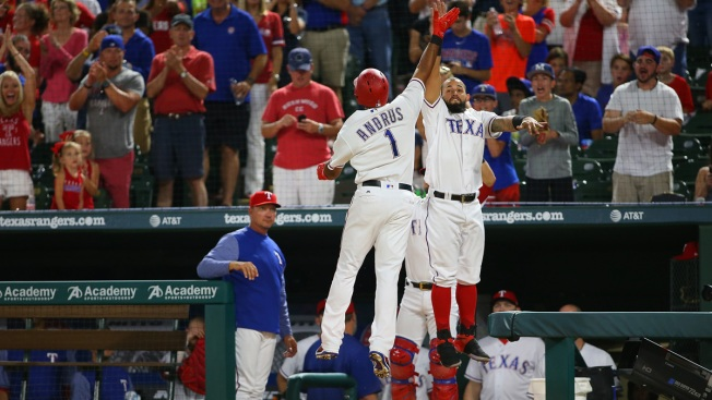 Andrus Drives in 5 as Texas Rangers Beat Tampa Bay Rays 9-5