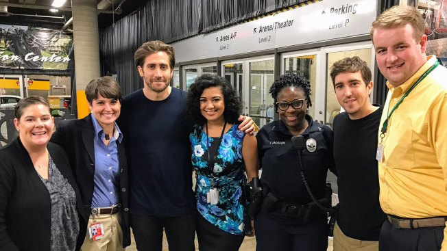Actor Jake Gyllenhaal Visits Dallas Mega Shelter