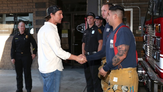 Matthew McConaughey Visits L.A. Firefighters Who Battled Wildfires