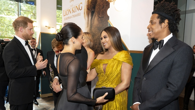 Beyoncé Looks Like a Royal and Hugs Meghan Markle at 'Lion King' Premiere in London