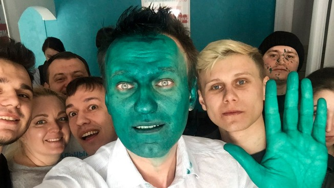 Russian Opposition Leader Navalny Doused in Antiseptic