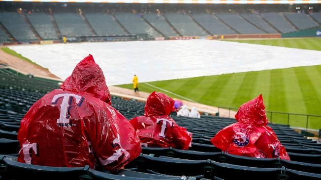 Athletics-Rangers Game Postponed After Long Day of Rain