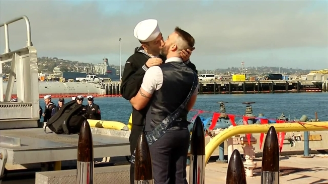 Warship's Homecoming First Kiss Shared by Gay Men for the First Time