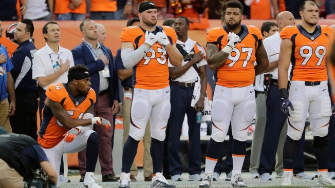 Broncos' Brandon Marshall Takes a Knee During Anthem