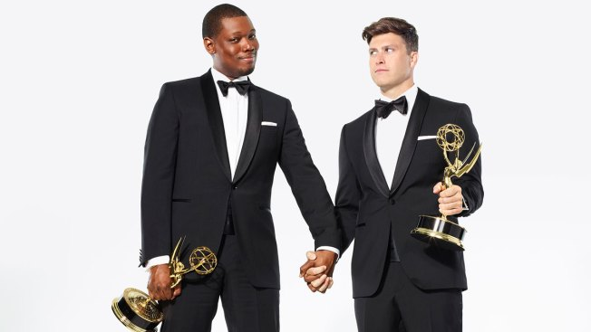 Michael Che and Colin Jost Ready For Their Emmy Close-Up