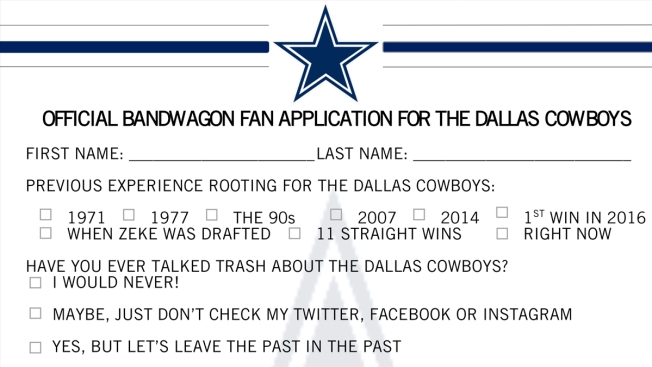 Cowboys Accepting 'Bandwagon Fan' Applications