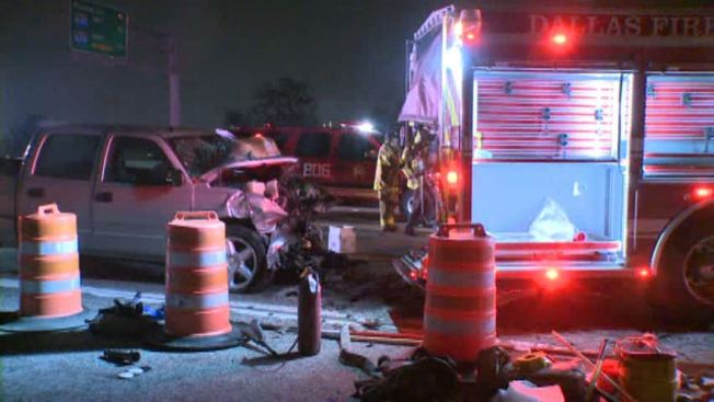Driver Slams Into Parked Fire Truck on Stemmons Freeway