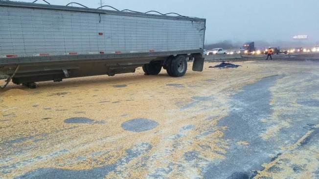 Big Rig Hauling Corn Crashes, Snarls Monday Morning Traffic