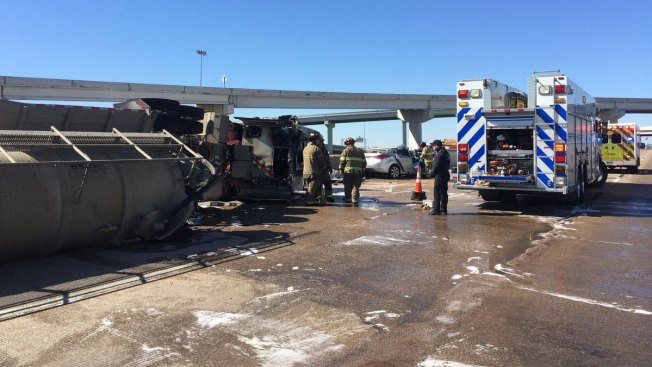 Tanker Crash Closes Interstate 20 in South Fort Worth