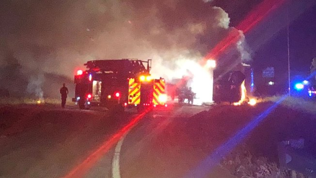 18-Wheeler Fire Closes I-635 in Grapevine