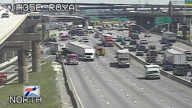 2 Semis, 2 Cars Involved in Fatal Crash on I-35E Near Royal Lane