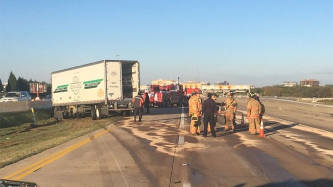 Texas 161 in Irving Open Again After Tractor-Trailer Crash, Spill