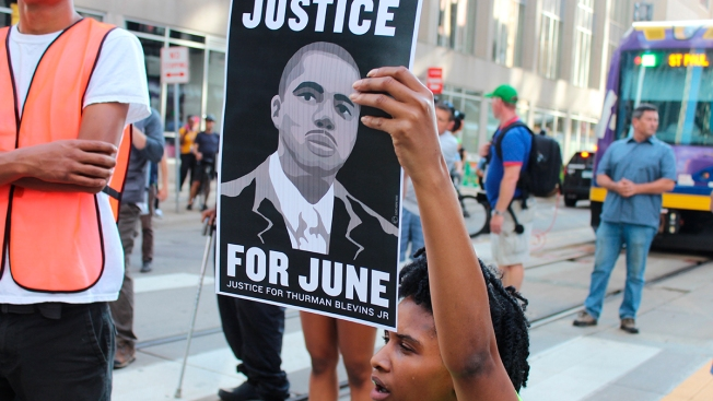 Protestors Block Trains, Call for Arrest, Firing of Officers Who Shot Thurman Blevins