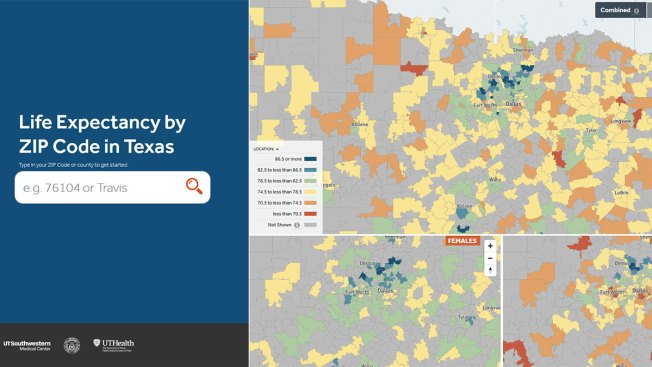 UTSW Map Shows Life Expectancy Based on ZIP Code - NBC 5 Dallas-Fort Zip Code Map Fort Worth on