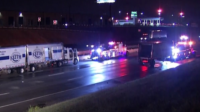 East Loop 820 Reopens After 18-Wheeler Crash