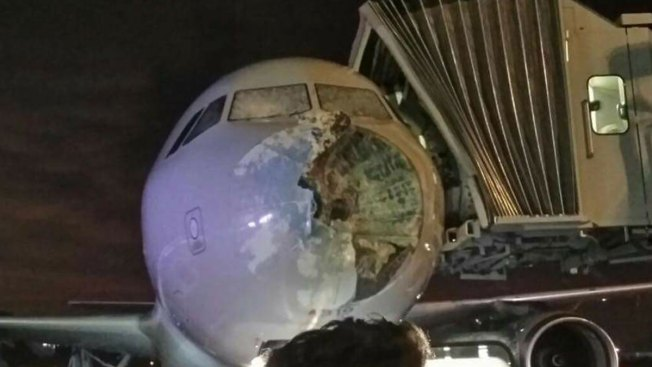 American Airlines Plane Damaged By Bad Weather Over Texas