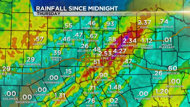 Severe Weather Threat Diminishes; Several Inches of Rain Recorded