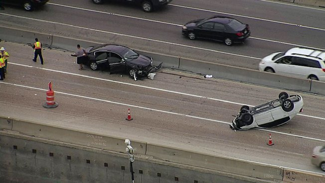 Crash Slows Westbound LBJ at Marsh