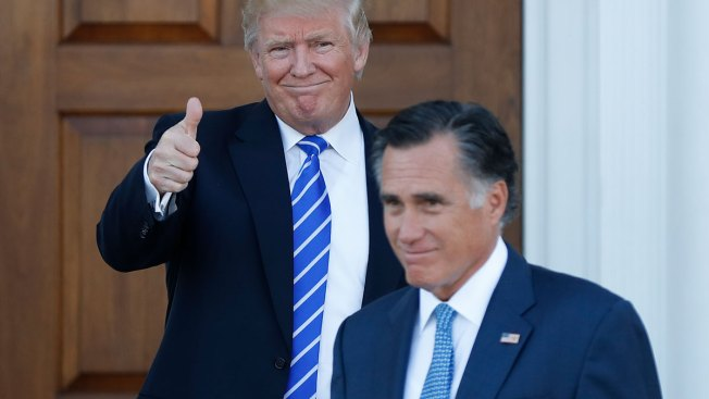 Trump and Romney, once bitter rivals, smile and shake hands