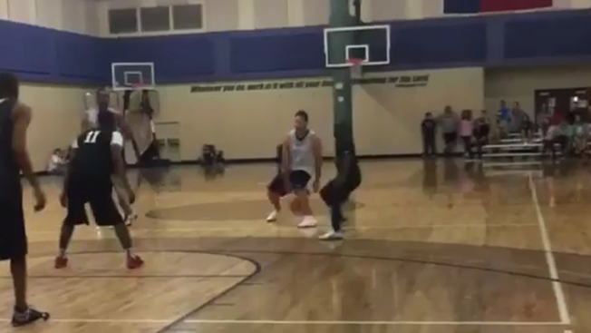 Tony Romo, Rico Gathers Hoop It Up at Plano Church