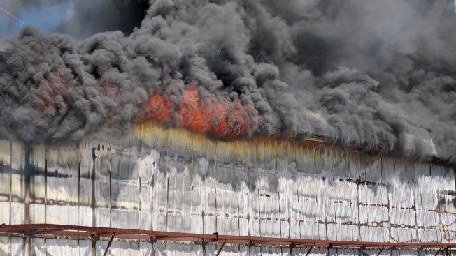 Warehouse Fire Sends Smoke Over Saginaw Sunday