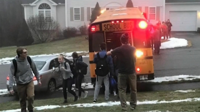 School Bus With 20 Students Slides Down Icy Road