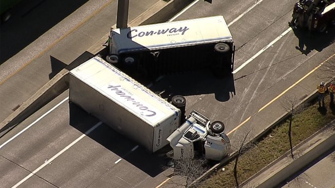 Overturned Truck Closes Interchange in Dallas