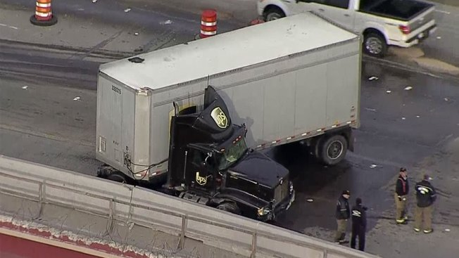 Crash, Fuel Spill Backs Up I-35W at Western Center