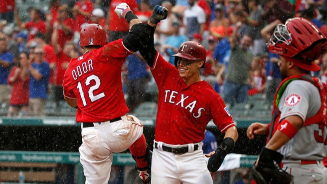 Odor Home Run Sends Rangers Past Angels to Cap Soggy Weekend