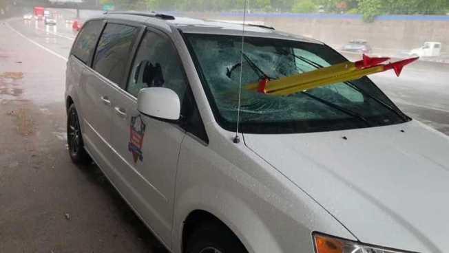 Van Passenger Impaled by Tripod on Sacramento Freeway